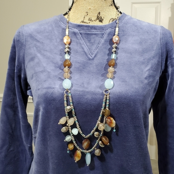 New Chico's brown and blue beaded necklace